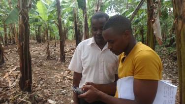 An intern recording the farmer's information